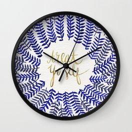 Treat Yo Self – Gold & Navy Wall Clock