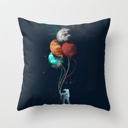 Astronauts and Planet Balloon Throw Pillow