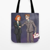 dana scully Tote Bags featuring Scully & Mulder by Huffleclaw