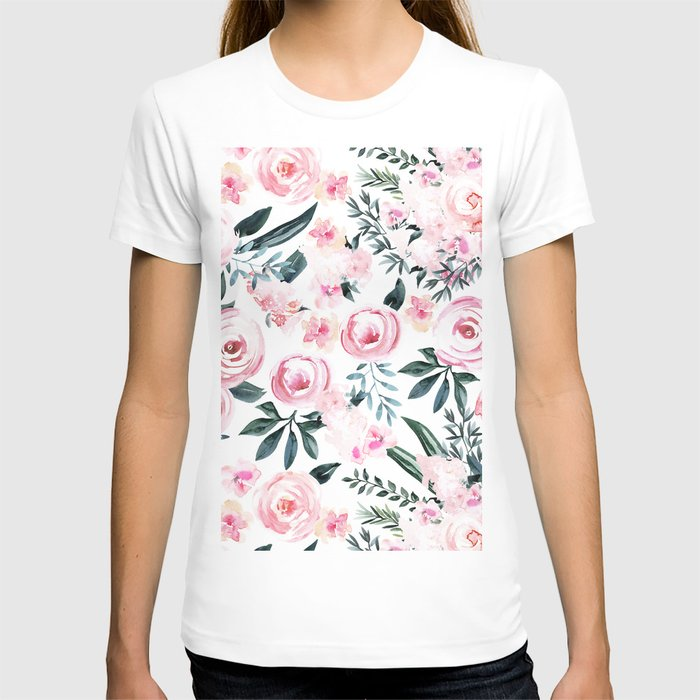 Floral Rose Watercolor Flower Pattern T-shirt