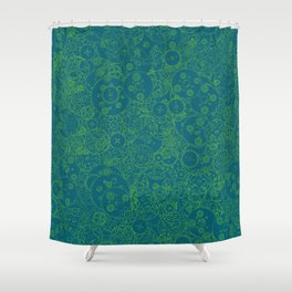 Clockwork Turquoise & Lime / Cogs and clockwork parts lineart pattern Shower Curtain
