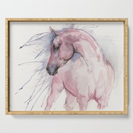 arabian horse watercolor art Serving Tray