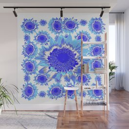 Decorative Delf Blue Tiles Abstracted Floral Art Wall Mural