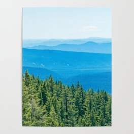 Artistic Brush // Grainy Scenic View of Rolling Hills Mountains Forest Landscape Photography Poster