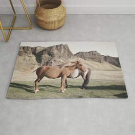Rustic Horse Photograph in Mountains Rug