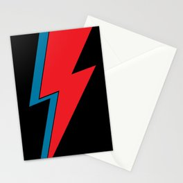 Rock and Roll Red and Blue Lightning Flash Stationery Cards