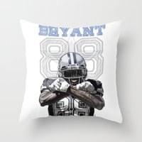 nfl Throw Pillows featuring Dez Bryant - watercolor by Sergio Navarrete