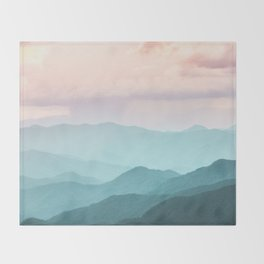 Smoky Mountain National Park Sunset Layers II - Nature Photography Throw Blanket