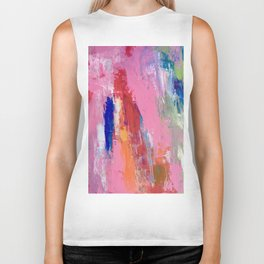 Lucky #13, a contemporary abstract in pinks and fuchsias Biker Tank