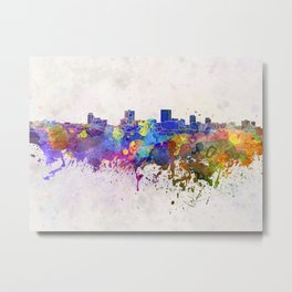 Anchorage skyline in watercolor background Metal Print