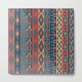 Navajo Geometric Pattern Metal Print