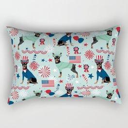 Miniature Doberman Pinscher dog pet portrait dog lover july 4th cute pet art Rectangular Pillow