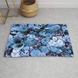 Fantasy flower garden. Delicate blooming elegant blue summer flowers artwork. Lovely glamorous moody artistic floral botanical design in cool tones. Beauty of nature. Rug