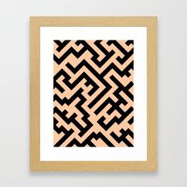 Black and Deep Peach Orange Diagonal Labyrinth Framed Art Print
