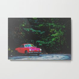 red classic car in the forest with green tree background Metal Print