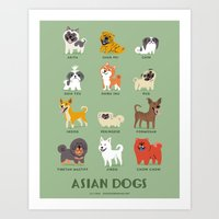 asian Art Prints featuring ASIAN DOGS by DoggieDrawings