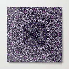 Purple, Gray, and Black Kaleidoscope 2 Metal Print