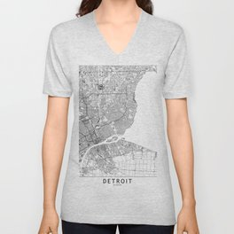 Detroit White Map Unisex V-Neck