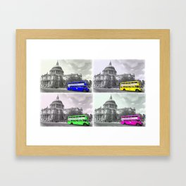 Warhol Styled Coloured Routemasters Framed Art Print