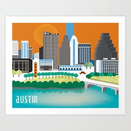 Austin, Texas - Skyline Illustration by Loose Petals Art Print