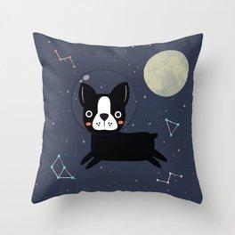 Boston Terrier In Space Throw Pillow