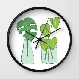 Plants in water bottles, colorful hand drawn illustration art Wall Clock