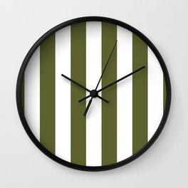 Dark Terrarium Moss Green and White Wide Vertical Cabana Tent Stripe Wall Clock
