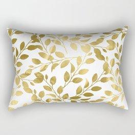 Gold Leaves on White Rectangular Pillow