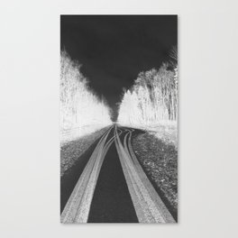 Black and White Tyre / Tire Tracks Canvas Print