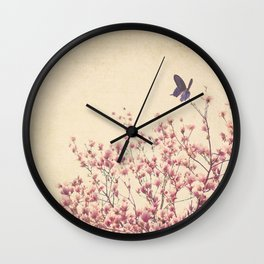 Butterfly and Pink Blossoms Wall Clock