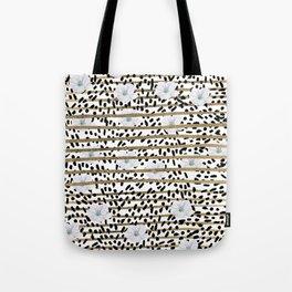 Lavender black faux gold stripes brushstrokes floral Tote Bag