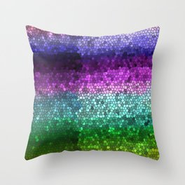 Rainbow Mosaic Stained Glass Throw Pillow