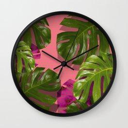 """Monstera plant on polka dots and pastel pink"" Wall Clock"