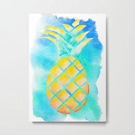 Tropical Hawaiian Pineapple Watercolor Metal Print