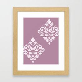 Scroll Damask Art I Pink on Mauve Framed Art Print