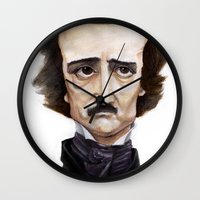edgar allen poe Wall Clocks featuring Poe by Vito Quintans