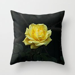 Yellow Rose Flower on Branch Throw Pillow