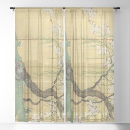 Cherry, Maple and Budding Willow Tree Sheer Curtain