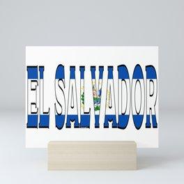 El Salvador Font with Salvadoran Flag Mini Art Print