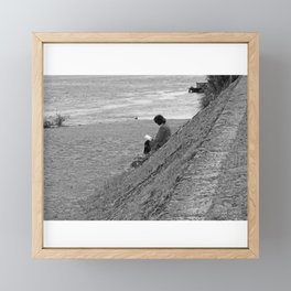 Woman Reading on Hill in France - Black and White Framed Mini Art Print