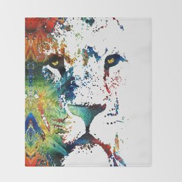 Colorful Lion Art By Sharon Cummings Throw Blanket