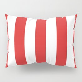 Maximum red - solid color - white vertical lines pattern Pillow Sham