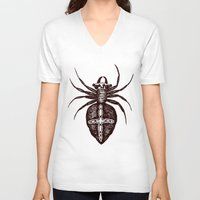 spider V-neck T-shirts featuring Spider by Bwiselizzy