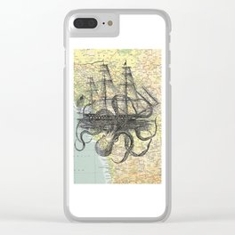 Octopus Attacks Ship on map background Clear iPhone Case