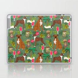 Boxer tiki tropical dog pattern modern pet friendly pet pattern dog breeds Laptop & iPad Skin