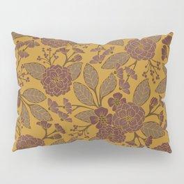 Mustard Yellow, Brown, Raisin, Taupe & Mauve Floral Pattern Pillow Sham