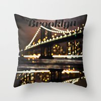 brooklyn Throw Pillows featuring Brooklyn by Isabel Lee Art