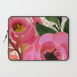 Composition watercolor flowers and rhombuses Laptop Sleeve