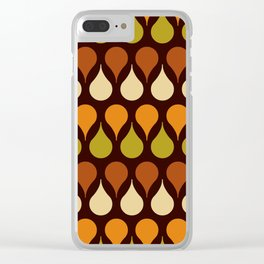 60s, retro pattern, Brown drops, yellow drops, geometric, vintage, drop pattern Clear iPhone Case