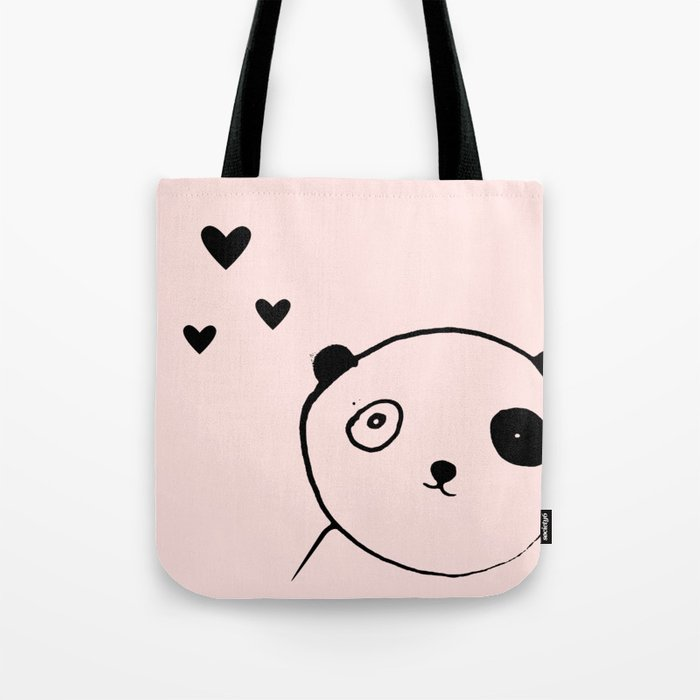 Panda in love pink Tote Bag